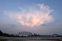 Cirrus Clouds over Louisville from Falls of the Ohio State Park, Clarksville, Indiana