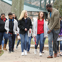 Adam Robison | BUY AT PHOTOS.DJOURNAL.COM<br /> Grenada High School ninth graders follow Douglas Alford, an admissions counselor with the office of admissions at the University of Mississippi, through the campus of the University of Mississippi during their tour on Wednesday. The students toured the campus become familiar with college life and to see what the University of Mississippi has to offer.