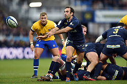 Morgan Parra of Clermont Auvergne passes the ball - Mandatory byline: Patrick Khachfe/JMP - 07966 386802 - 15/12/2019 - RUGBY UNION - Stade Marcel-Michelin - Clermont-Ferrand, France - Clermont Auvergne v Bath Rugby - Heineken Champions Cup