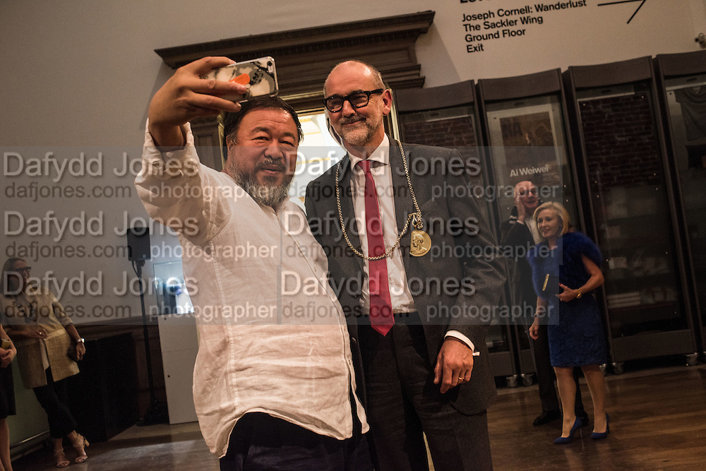 AI WEIWEI; CHRISTOPHER LE BRUN PRESIDENT RA Ai Weiwei, Royal Academy, Piccadilly. London.  15 September 2015.
