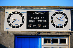 UK CORNWALL NEWLYN 9JUN08 - Tide schedule at  Newlyn harbour in Cornwall, western England...jre/Photo by Jiri Rezac / WWF UK..© Jiri Rezac 2008..Contact: +44 (0) 7050 110 417.Mobile:  +44 (0) 7801 337 683.Office:  +44 (0) 20 8968 9635..Email:   jiri@jirirezac.com.Web:    www.jirirezac.com..© All images Jiri Rezac 2008 - All rights reserved.