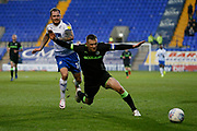 Forest Green Rovers Lee Collins(5) is fouled by James Norwood of Tranmere Rovers  during the EFL Sky Bet League 2 play off first leg match between Tranmere Rovers and Forest Green Rovers at Prenton Park, Birkenhead, England on 10 May 2019.