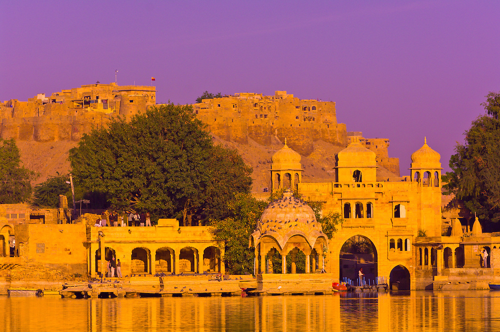 View of Gadsisar Lake with the Jaisalmer Fort in the background, Jaisalmer, Rajasthan, India