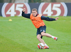 CARDIFF, WALES - Tuesday, March 31, 2009: Wales' captain Craig Bellamy during training at the Vale of Glamorgan ahead of the 2010 FIFA World Cup Qualifying Group 4 match against Germany. (Pic by David Rawcliffe/Propaganda)