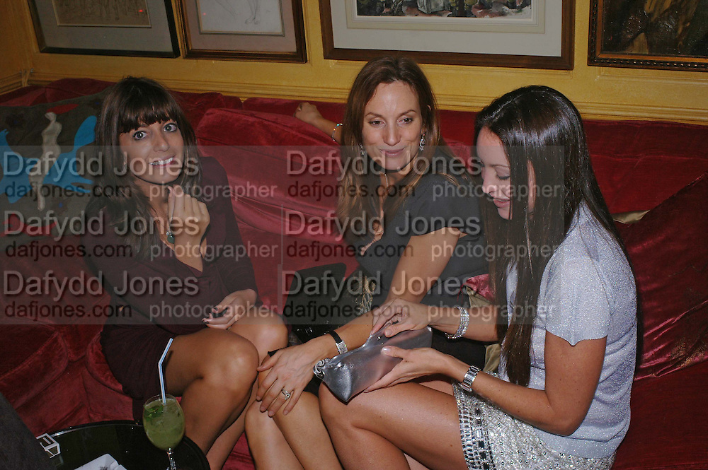 Claudia Winkleman, Emily Oppenheim and Tamara Mellon. Artists Independent Networks  Pre-BAFTA Party at Annabel's co hosted by Charles Finch and Chanel. Berkeley Sq. London. 11 February 2005. . ONE TIME USE ONLY - DO NOT ARCHIVE  © Copyright Photograph by Dafydd Jones 66 Stockwell Park Rd. London SW9 0DA Tel 020 7733 0108 www.dafjones.com