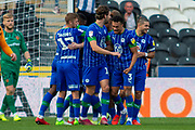 Goal Wigan Athletic Celebrates as Joe Gelhardt of Wigan Athletic scores a goal to equalize 2-2 during the EFL Sky Bet Championship match between Hull City and Wigan Athletic at the KCOM Stadium, Kingston upon Hull, England on 14 September 2019.
