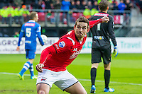 ALKMAAR - 16-04-2016, AZ - PEC Zwolle, AFAS Stadion, AZ speler Vincent Janssen juicht na de 1-0, juicht.