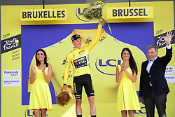 July 7, 2019 - Bruxelles, Belgium - BRUSSELS, BELGIUM - JULY 7 : TEUNISSEN Mike (NED) of TEAM JUMBO - VISMA pictured during the podium ceremony in the yellow jersey with cycling legend MERCKX Eddy after stage 2 of the 106th edition of the 2019 Tour de France cycling race, a team time trial of 27,6 kms with start and finish in Brussels on July 07, 2019 in Brussels, Belgium, 7/07/2019 ( Motordriver Kenny Verfaillie - Photo by Nico Vereecken / Photo News. (Credit Image: © Panoramic via ZUMA Press)