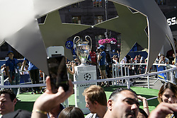May 26, 2018 - Kiev, Ukraine - Champions League Cupin the fan zone, in doiwntown Kyiv, Ukraine,  prior to the UEFA Champions League Final between Real Madrid and Liverpool at NSC Olimpiyskiy Stadium on May 26, 2018 in Kiev, Ukraine. (Credit Image: © Maxym Marusenko/NurPhoto via ZUMA Press)