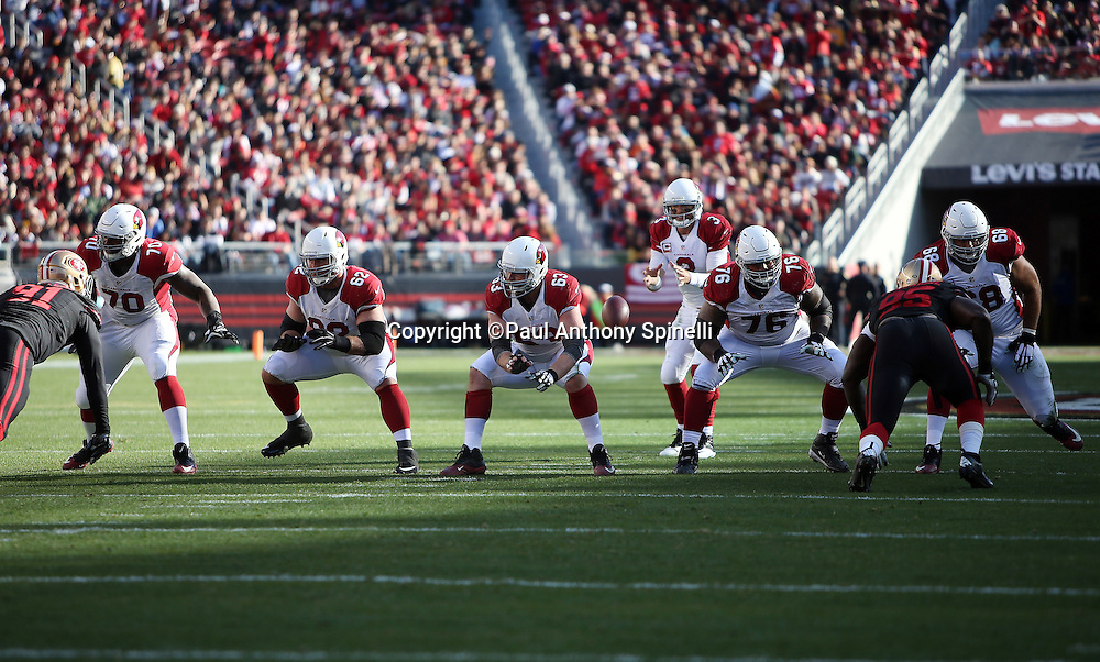 The Arizona Cardinals offense blocks as the ball is snapped in a shotgun formation during the 2015 week 12 regular season NFL football game against the San Francisco 49ers on Sunday, Nov. 29, 2015 in Santa Clara, Calif. The Cardinals won the game 19-13. (©Paul Anthony Spinelli)