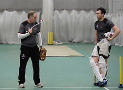Somerset assistant coach Peter Sanderson talks to Somerset's Liam Redrup. - Mandatory byline: Alex Davidson/JMP - 25/02/2016 - CRICKET - The Cooper Associates County Ground -Taunton,England - Somerset CCC  Media access - Pre-Season