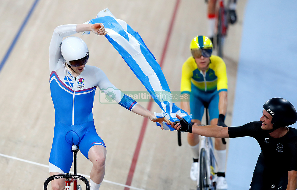 Scotland's Mark Stewart celebrates winning the Men's 40km Points Race Final at the Anna Meares Velodrome during day four of the 2018 Commonwealth Games in the Gold Coast, Australia.