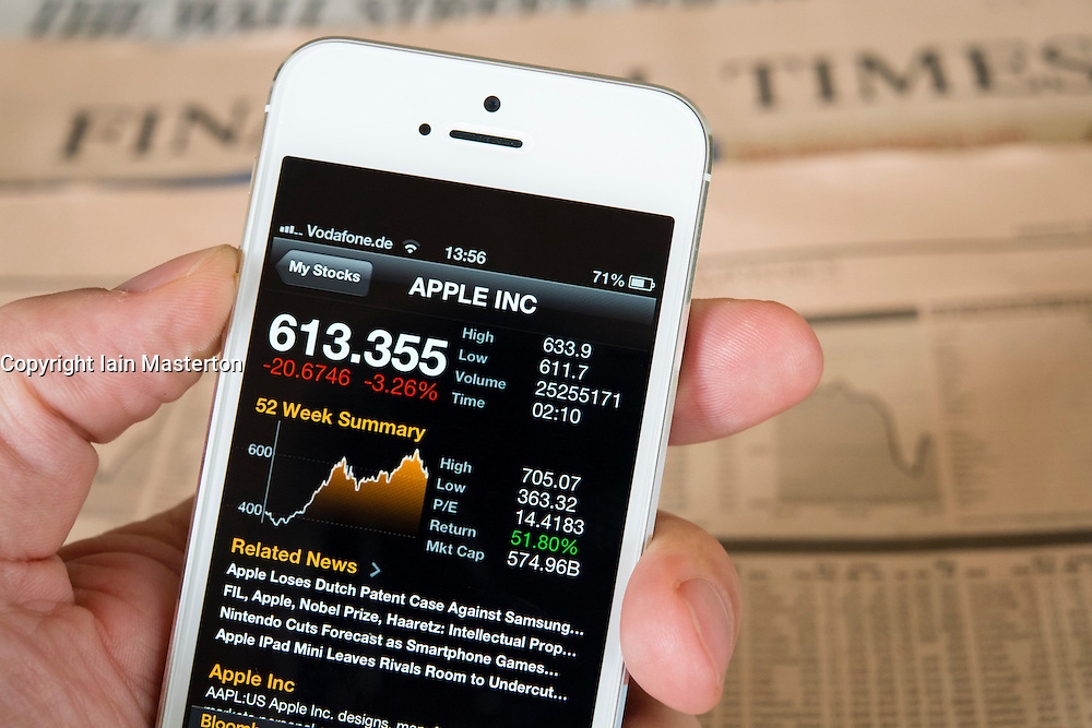 Detail of iPhone 5 smart phone screen showing financial app with APPLE stock market data