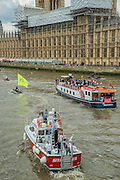 Ribs from the incampaign dart amongst the fleet - Nigel Farage, the leader of Ukip, joins a flotilla of fishing trawlers up the Thames to Parliament to call for the UK's withdrawal from the EU, in a protest timed to coincide with prime minister's questions.