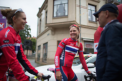 Team Norway riders share a light moment before the start of the 76,1 km first stage of the 2016 Ladies' Tour of Norway women's road cycling race on August 12, 2016 between Halden and Fredrikstad, Norway. (Photo by Balint Hamvas/Velofocus)
