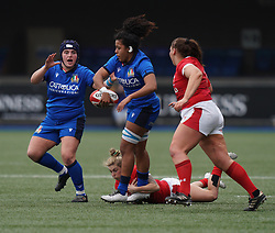 February 2, 2020, Cardiff, United Kingdom: Giada Franco (Italy) seen in action during the women's Six Nations Rugby between wales and Italy at Cardiff Arms Park in Cardiff. (Credit Image: © Graham Glendinning/SOPA Images via ZUMA Wire)