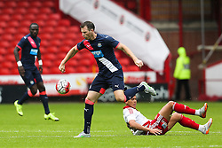 Mike Williamson of Newcastle United avoids a slide tackle by Che Adams of Sheffield United - Mandatory by-line: Matt McNulty/JMP - 26/07/2015 - SPORT - FOOTBALL - Sheffield,England - Bramall Lane - Sheffield United v Newcastle United - Pre-Season Friendly