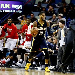Dec 15, 2016; New Orleans, LA, USA; Indiana Pacers forward Paul George (13) reacts to an officals call during the second half of a game against the New Orleans Pelicans at the Smoothie King Center. The Pelicans defeated the Pacers 102-95. Mandatory Credit: Derick E. Hingle-USA TODAY Sports