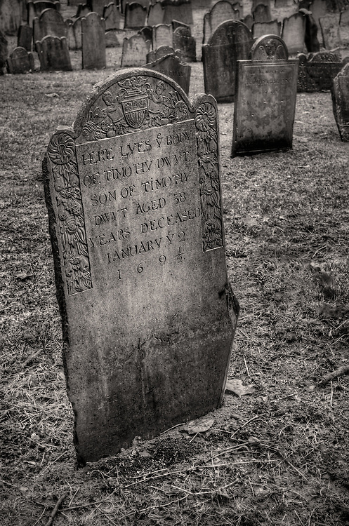 Tombstone from the 1600's in Boston's Granary Burying Ground.