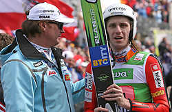 Ales Pejlhan of SZS and Primoz Pikl (SLO) at Flying Hill Team in 3rd day of 32nd World Cup Competition of FIS World Cup Ski Jumping Final in Planica, Slovenia, on March 21, 2009. (Photo by Vid Ponikvar / Sportida)