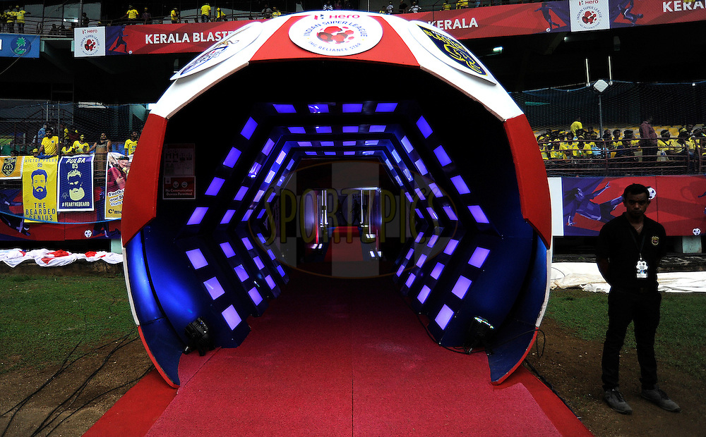 Tunnels during match 34 of the Indian Super League (ISL) season 2 between Kerala Blasters FC and AtlŽtico de Kolkata held at the Jawaharlal Nehru Stadium, Kochi, India on the 10th November 2015.<br /> <br /> Photo by Pal Pillai / ISL/ SPORTZPICS