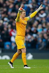 Joe Hart of Manchester City celebrates after David Silva scores a goal to make it 1-0 - Photo mandatory by-line: Rogan Thomson/JMP - 07966 386802 - 28/12/2014 - SPORT - FOOTBALL - Manchester, England - Etihad Stadium - Manchester City v Burnley - Barclays Premier League.