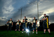 Mitchell's Spencer Mohr (55), Zeb Parsons (66), Alex Klingaman (77), Bryce Geraets (58) and Chris Corbett (67) have set the tone up front for the Kernels offensive success this year. (Matt Gade/Republic)