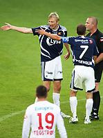 Fotball Tippeliga<br /> Viking Stadion 070708<br /> Viking - Fredrikstad<br /> Foto: Sigbjørn Andreas Hofsmo, Digitalsport<br /> <br /> Allan Gaarde - Nicolai Stockholm - Kjetil Sælen