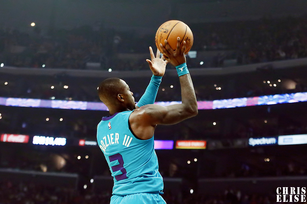 LOS ANGELES, CA - OCT 28: Terry Rozier (3) of the Charlotte Hornets shoots the ball during a game on October 28, 2019 at the Staples Center, in Los Angeles, California.