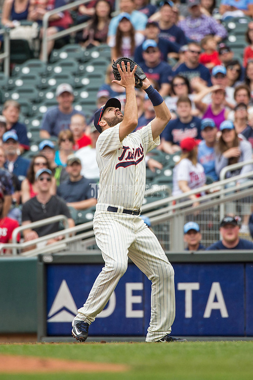 MINNEAPOLIS, MN- MAY 16: Joe Mauer #7 of the Minnesota Twins fields against the Tampa Bay Rays on May 16, 2015 at Target Field in Minneapolis, Minnesota. The Twins defeated the Rays 6-4. (Photo by Brace Hemmelgarn) *** Local Caption *** Joe Mauer