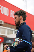Ipswich midfielder Jonathan Douglas (22) coming back to Brentford during the EFL Sky Bet Championship match between Brentford and Ipswich Town at Griffin Park, London, England on 13 August 2016. Photo by Matthew Redman.