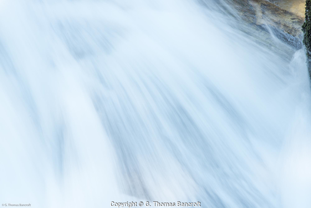 Closeup of water tumbling through Madcap Falls.