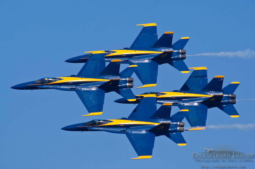 Blue Angels F/A-18 Hornet aircraft performance jets flying in tight formation at Fleet Week, San Francisco, California