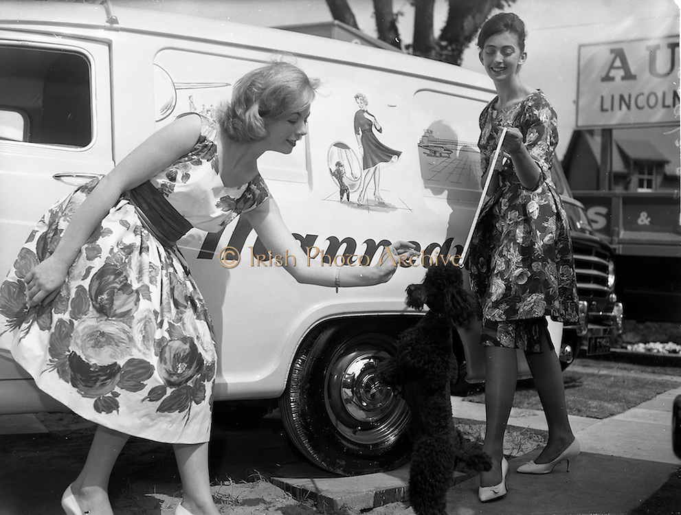 """02/05/1960<br /> 05/02/1960<br /> 02 May 1960<br /> Models for the Bradmola """"Mannequin"""" Nylon stand at the R.D.S. Spring Show, Ballsbridge, Dublin.  Included are: Yvonne Doupe; Betty Grant; Elsie O'Connell; Joan Cullen; Mary Blythe and Maura Bacon."""