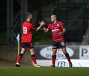 06/10/2017 - St Johnstone v Dundee - Dave Mackay testimonial at McDiarmid Park, Perth, Picture by David Young - Steven Milne is congratualted by Dundee's Matty Hanvey after putting Dundee 4-1 ahead