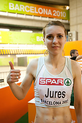 Tina Jures of Slovenia after competing in the Womens 200m Heat during day four of the 20th European Athletics Championships at the Olympic Stadium on July 30, 2010 in Barcelona, Spain. (Photo by Vid Ponikvar / Sportida)