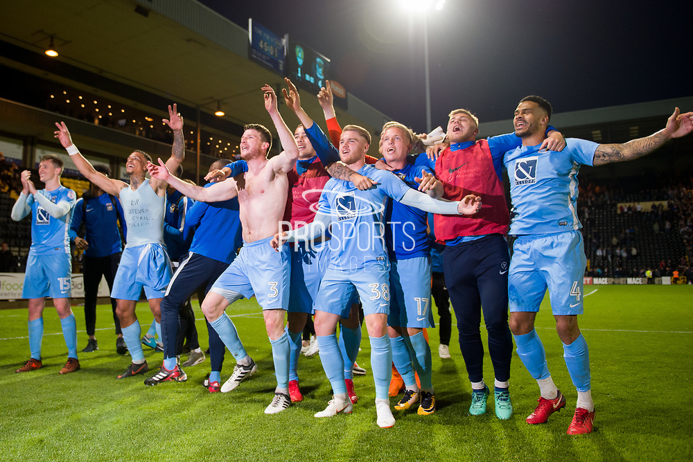The Sky Blues celebrate reaching the final at Wembley during the EFL Sky Bet League 2 match between Notts County and Coventry City at Meadow Lane, Nottingham, England on 18 May 2018. Picture by Jon Hobley.