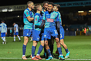 The Wycombe Wanderers players  scores a goal and celebrates  Wycombe Wanderers defender Anthony Stewart (5) goal 1-0 during the The FA Cup match between Wycombe Wanderers and Tranmere Rovers at Adams Park, High Wycombe, England on 20 November 2019.
