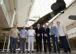 © Licensed to London News Pictures. 28/11/12. London, UK. Aviation archeologist David Cundall (centre) stands with archeologists and backers after a press conference at the Imperial War Museum in London today (28/11/12) ahead of an expedition to Burma to uncover up to 36 Supermarine Spitfire fighter aircraft thought to be buried by the British RAF when they left the country. Mr Cundall, a farmer by profession, is leading the expedition in January of 2013 with backing from computer games firm Wargaming and the University of Leeds. Photo credit: Matt Cetti-Roberts/LNP