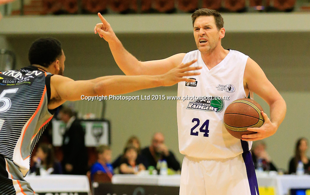 Ranger's Dillon Boucher with the ball. NBL basketball, Hawkes Bay Hawks  v Super City Rangers, PG Arena, Napier, New Zealand. Saturday, 18 April, 2015. Copyright photo: John Cowpland / www.photosport.co.nz