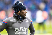Crystal Palace #23 Pape Souaré during the warm up before  Premier League match between Leicester City and Crystal Palace at the King Power Stadium, Leicester, England on 16 December 2017. Photo by Sebastian Frej.