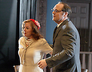 Melissa Kerr Ertsgaard (left) and J. Gary Thompson during a dress rehearsal of A Case of Libel at the Dayton Theatre Guild in Dayton, Wednesday, May 19, 2010.