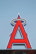 ANAHEIM - APRIL 10:  The big A logo of the Los Angeles Angels of Anaheim looms large over the stadium during the game between the Toronto Blue Jays and the Los Angeles Angels of Anaheim at Angel Stadium in Anaheim, California on Sunday April 10, 2011. The Angels won the game 3-1. (Photo by Paul Spinelli/MLB Photos via Getty Images)