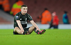 LONDON, ENGLAND - Friday, March 4, 2016: Liverpool's Corey Whelan looks dejected as his side lose to Arsenal during the FA Youth Cup 6th Round match at the Emirates Stadium. (Pic by Paul Marriott/Propaganda)