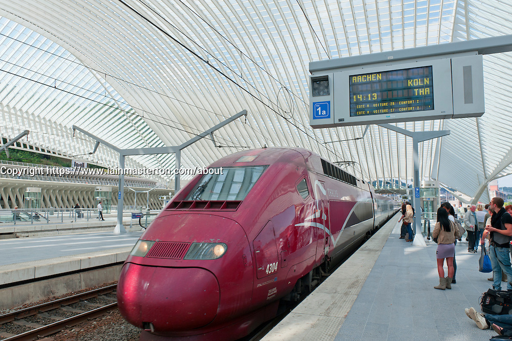 Thalys high speed train at platform in new Liège-Guillemins modern railway station designed by architect Santiago Calatrava  in Liege Belgium