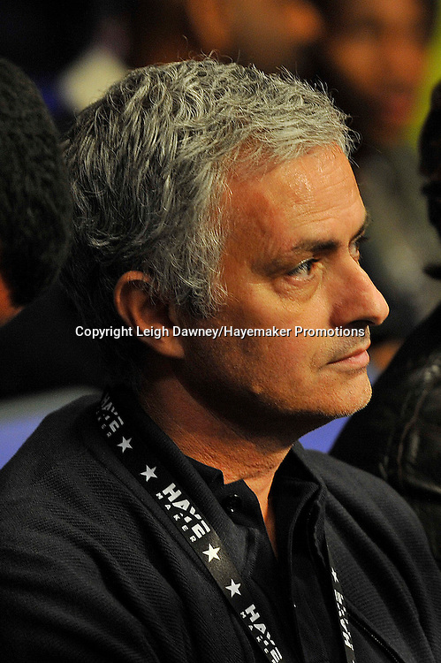Former Chelsea FC Manager Jose Mourinho sits ringside ahead of David Haye's  heavyweight contest against Arnold Gjergjaj at the 02 Arena, London on the 21st May 2016. Photo credit: Leigh Dawney/Hayemaker Promotions.