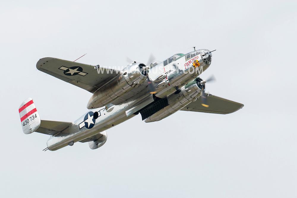 "New Windsor, New York - The World War II era B-25 Mitchell Bomber ""Panchito"" flies at the New York Air Show at Stewart International Airport on Aug. 29, 2015."