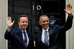© London News Pictures. 22/04/2016. London, UK. British prime minister DAVID CAMERON greets President of the United States BARACK OBAMA outside 10 Downing Street in London ahead of a meeting between the two leaders. President Obama is expected to comment on the upcoming referendum on Britain's membership of the EU. Photo credit: Ben Cawthra/LNP