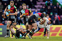 Alafoti Fa'osiliva of Bath Rugby is tackled to ground - Photo mandatory by-line: Patrick Khachfe/JMP - Mobile: 07966 386802 31/01/2015 - SPORT - RUGBY UNION - London - The Twickenham Stoop - Harlequins v Bath Rugby - LV= Cup