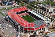 Nederland, Overijssel, Enschede, 30-06-2011; De Grolsch Veste, stadion FC Twente. Het stadion wordt uitgebreid en van een dak voorzien (deze in aanbouw zijnde overkapping is op 8 juli gedeeltelijk ingestort)..FC Twente stadium. The stadium is expanded and provided with a roof..luchtfoto (toeslag), aerial photo (additional fee required).copyright foto/photo Siebe Swart.-------